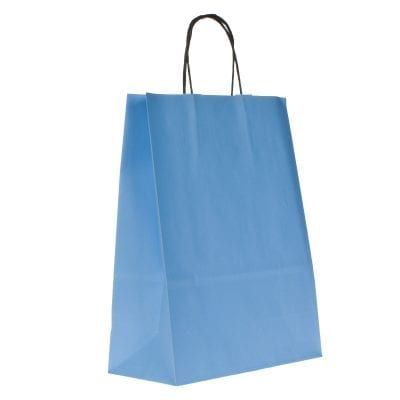 Coloured Plain Paper Carrier Bags With Twisted Handles