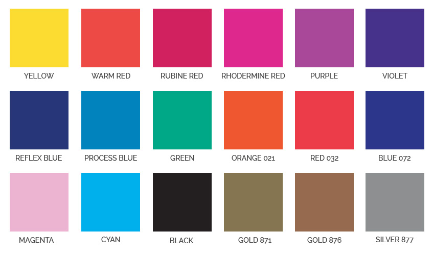 Colour Chart - Atom Printed Carrier Bags